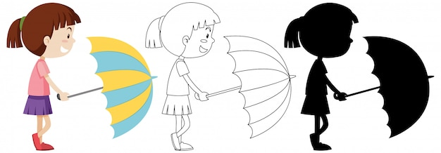 Girl holding umbrella in colour and outline and silhouette Free Vector