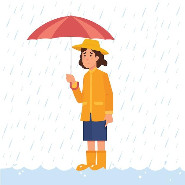 Girl holding umbrella in heavy rain and flood Premium Vector