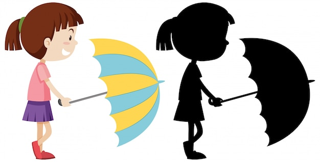 Girl holding umbrella with its silhouette Free Vector