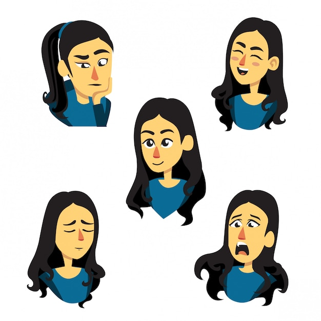 Girl illustration in different facial expressions Premium Vector