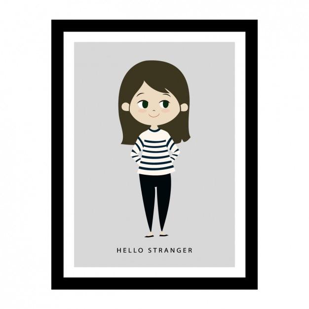 Girl illustration in a frame Free Vector