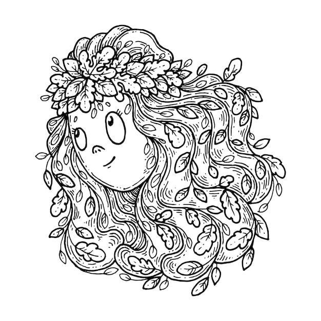 Девушка в венке из осенних листьев. Premium векторы