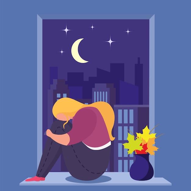 うつ病の女の子は、部屋、若い、悲しい女性だけで、不安、デザイン、漫画スタイルのイラストの窓の近くに座っています。 Premiumベクター