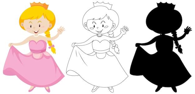 色とアウトラインとシルエットの王女の衣装の女の子 無料ベクター