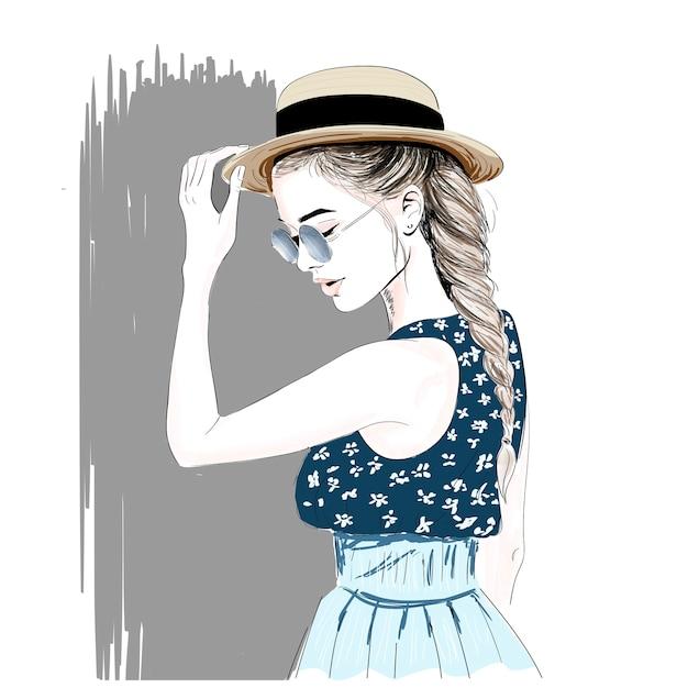 Girl in straw hat Premium Vector