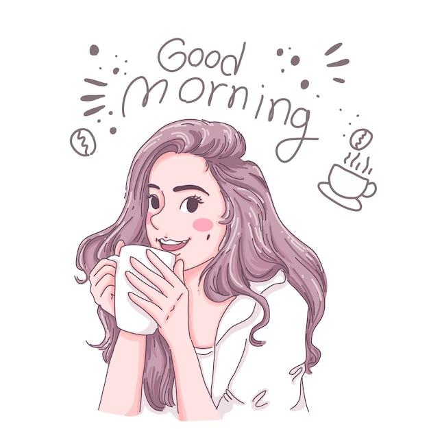 Девушка пьет кофе. Premium векторы