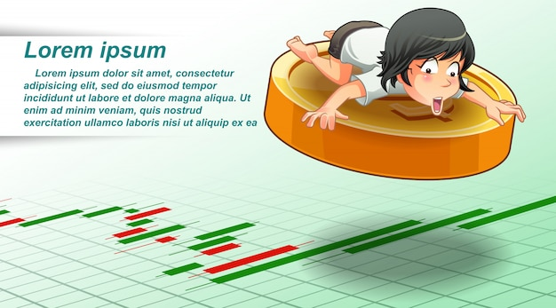 Girl is flying to success with coin. Premium Vector
