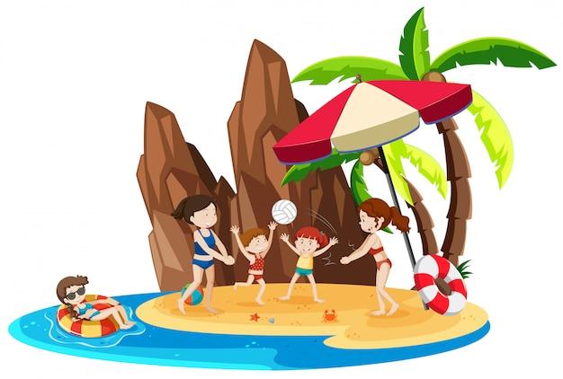 Girl on island vacation Free Vector