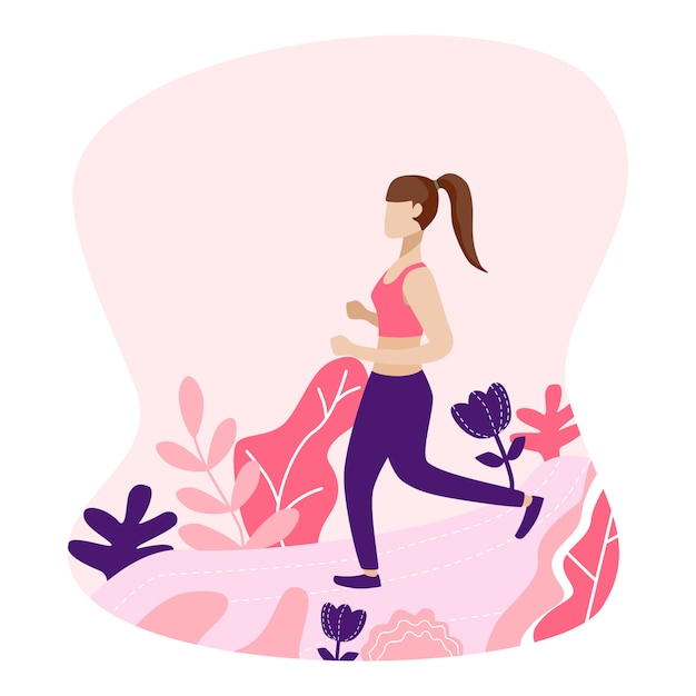 Girl jogging in the park Premium Vector