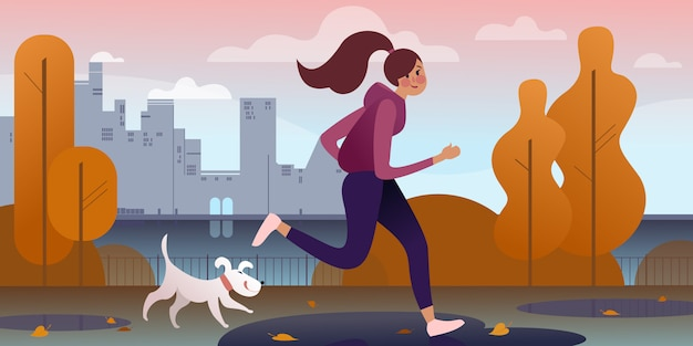 A girl jogging with a dog in an autumn park along the embankment.  city street scene. Premium Vector