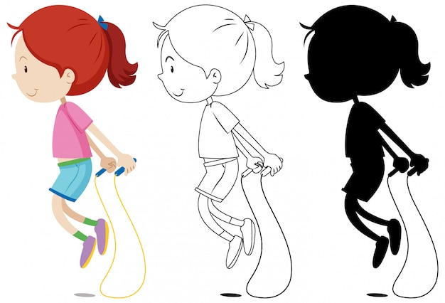 Girl jumping rope with its outline and silhouette Free Vector