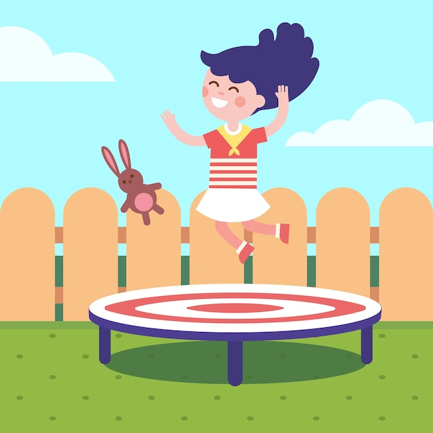 Girl jumping on a trampoline at the backyard Free Vector