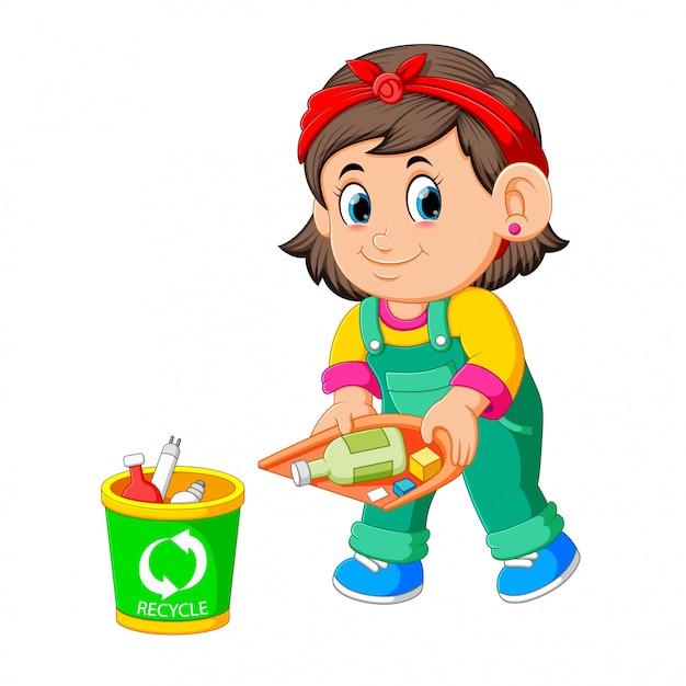 A girl keep clean environment by thrush in rubbish bin Premium Vector