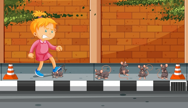 Girl kicking rats on the street Premium Vector