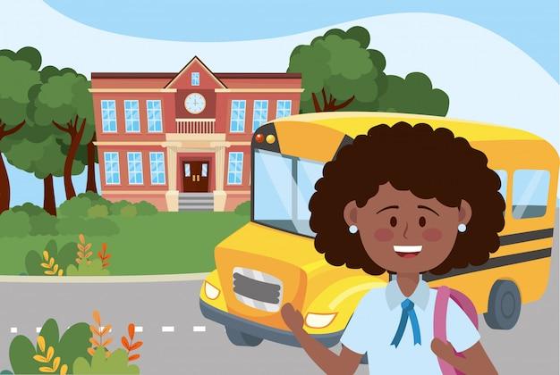 Girl kid and bus school Free Vector