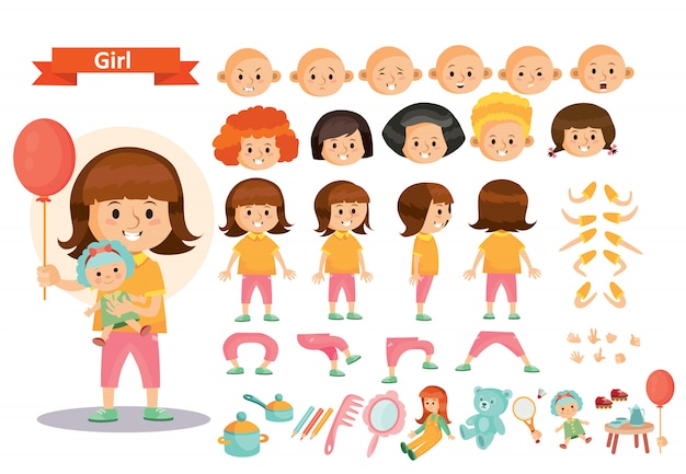 Girl kid playing toys cartoon child character constructor isolated icons of body parts Premium Vector