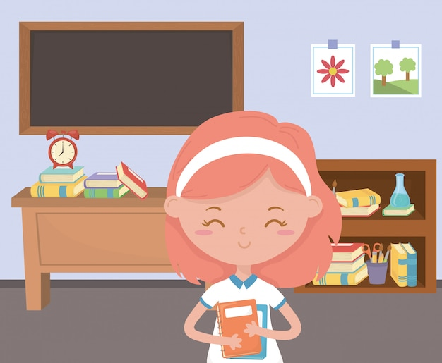Girl kid at school in classroom Free Vector