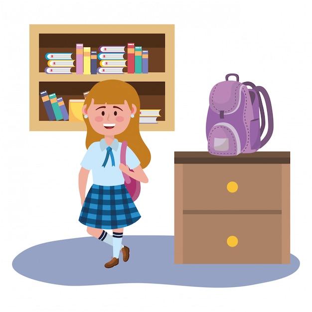 Girl kid of school Free Vector
