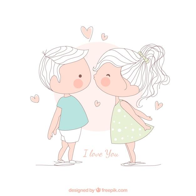 Girl kissing a boy, illustration Free Vector