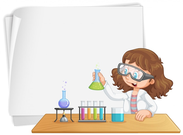 Girl in laboratory note background copyspace Free Vector