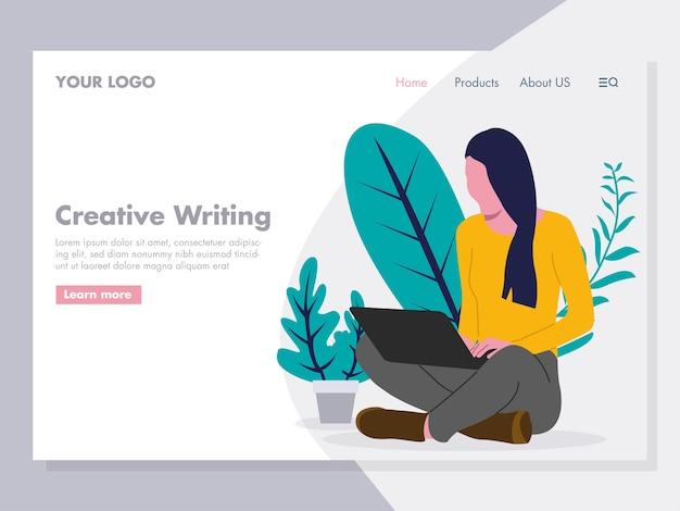 Girl on a laptop illustration Premium Vector