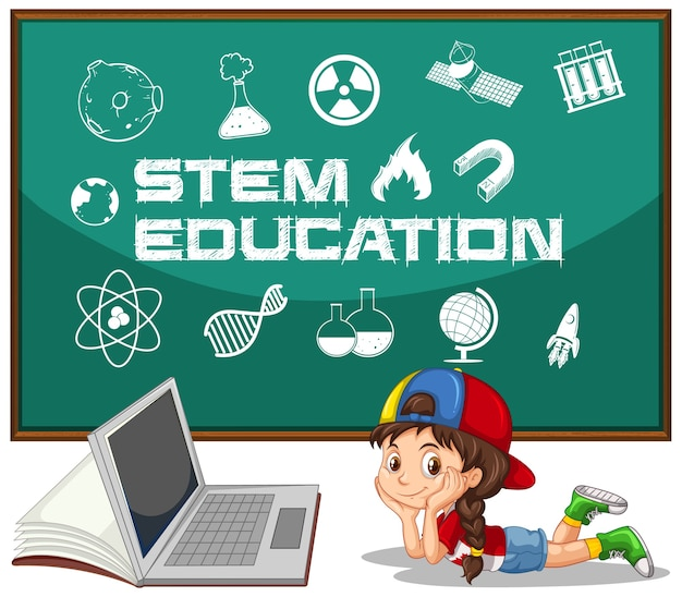 Girl and laptop with stem education text in blackboard Free Vector