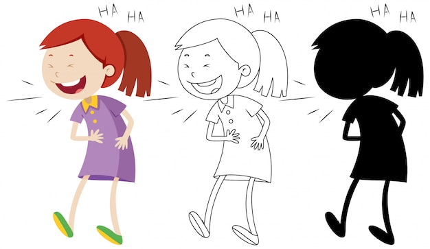 Girl laughing with its outline and silhouette Free Vector