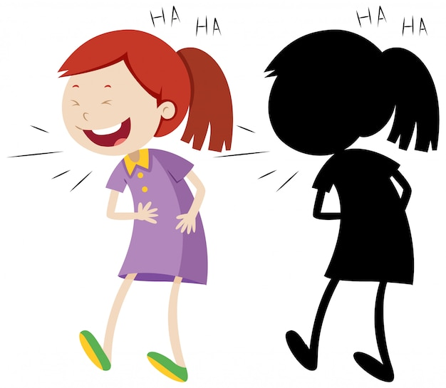 Girl laughing with its silhouette Free Vector