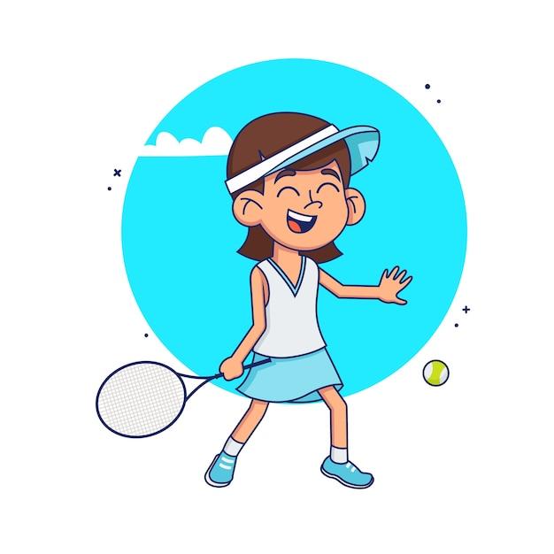 소녀는 테니스를 배운다. 아이 흰색 배경에 테니스를 재생합니다. 삽화 프리미엄 벡터