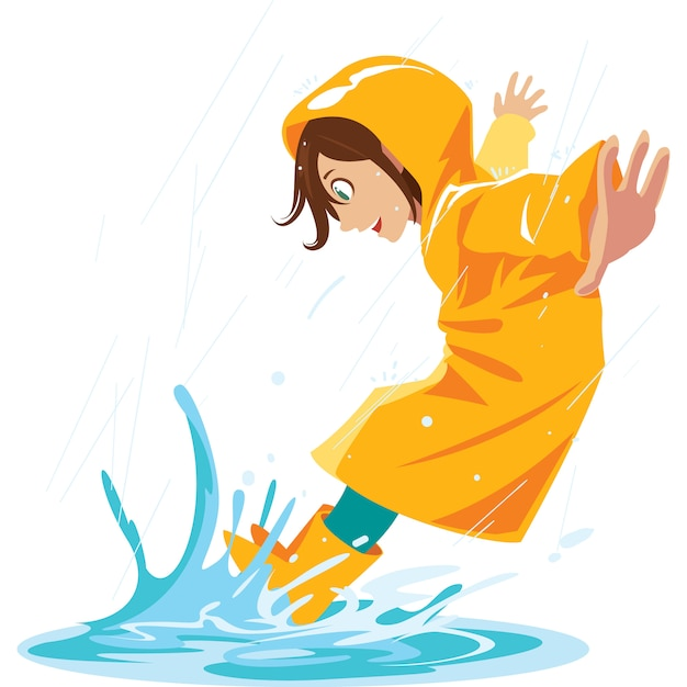 Girl like to stomp in rain puddles in the rainy season. Premium Vector
