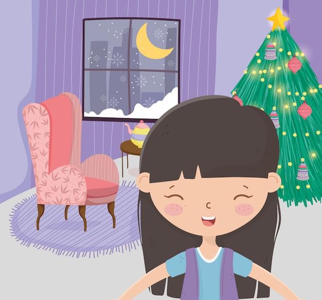 Girl living room tree sofa window snow moon celebration merry christmas Premium Vector
