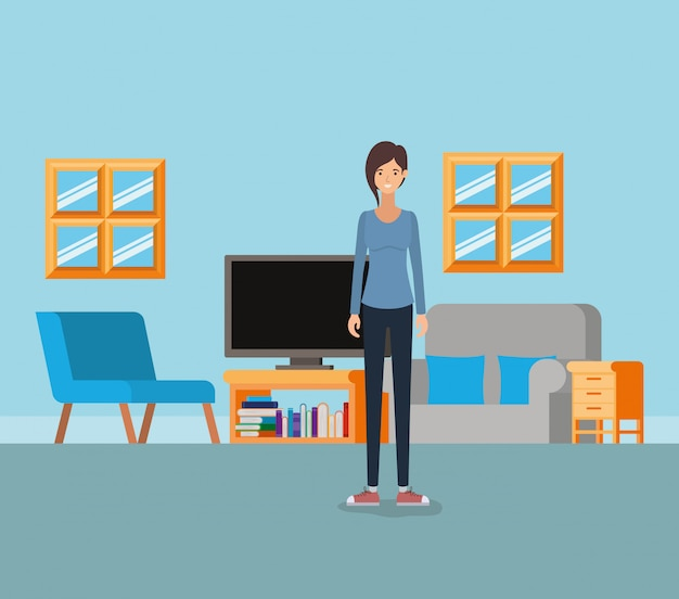 Girl in living room Free Vector