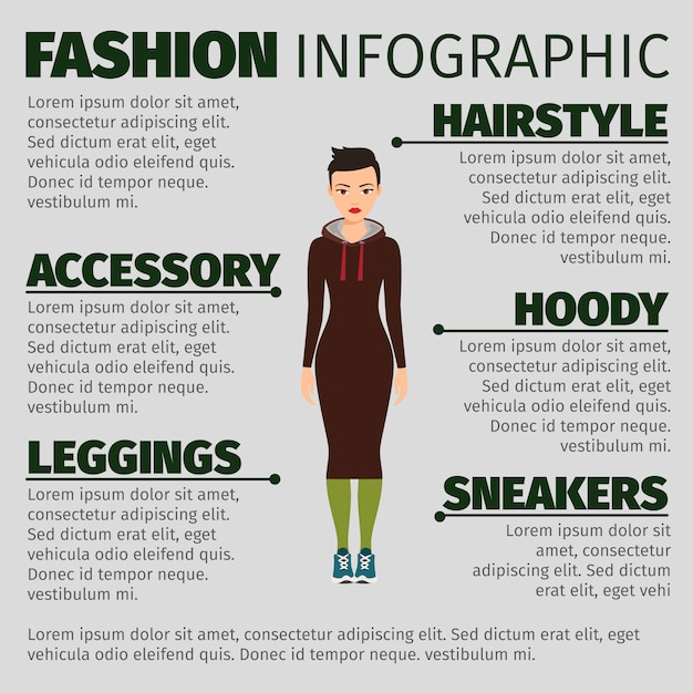 Girl in long dress fashion infographic Premium Vector