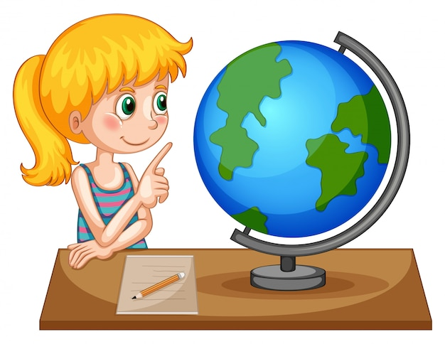 Girl looking at globe on the table Free Vector