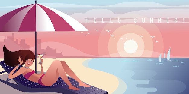 Girl on a lounger with a cocktail relaxes on a city beach Premium Vector