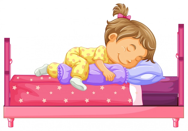 Girl lying on bed Free Vector