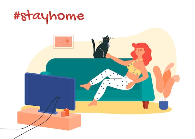 Girl lying on the sofa with her cat and watching movies. stay at home hashtag illustration. Premium Vector