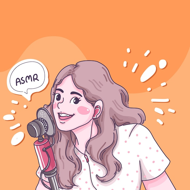 Девушка делает иллюстрации шаржа asmr. Premium векторы