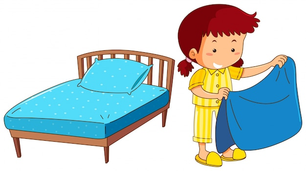 girl making bed on white background vector free download