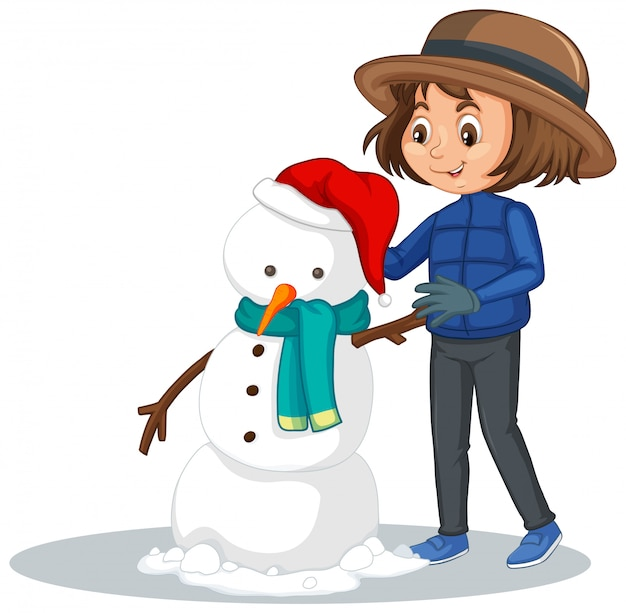 Girl making snowman on white Free Vector
