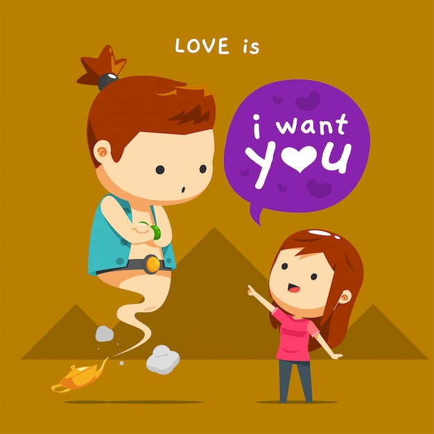 A girl and a male ginny Premium Vector