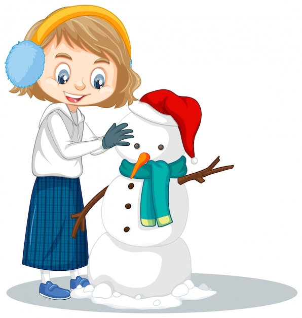 Girl manking snowman on isolated Free Vector