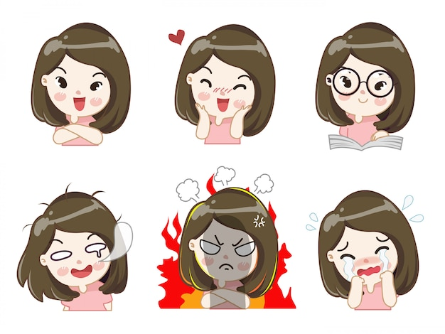 The girl in many gestures. Premium Vector