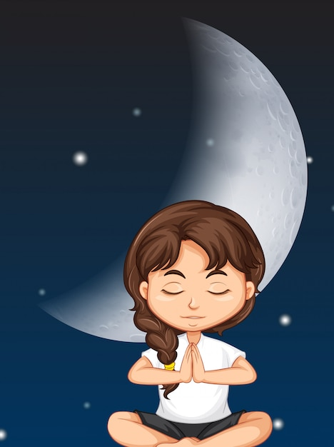 Girl meditate on moon background Premium Vector