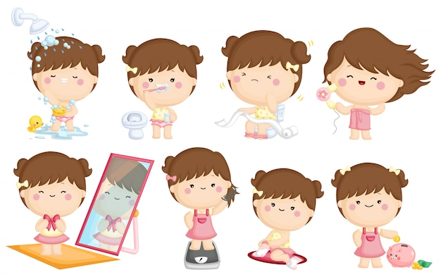 Girl morning daily activity Premium Vector