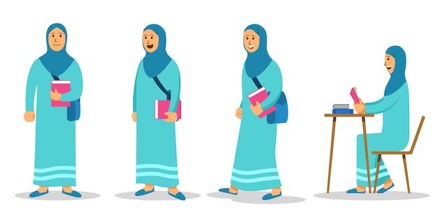 Girl moslem college student flat character set Premium Vector