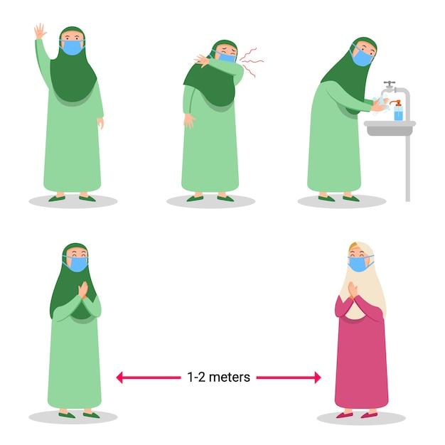 インフルエンザウイルスフラット文字の広がりを防ぐ少女イスラム教 Premiumベクター