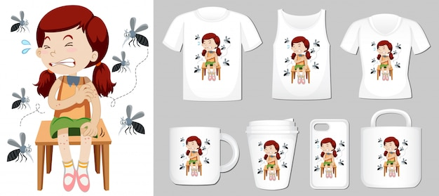 Girl and mosquitos on different product templates Free Vector