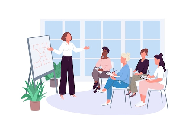 Girl office meeting flat color faceless characters Premium Vector