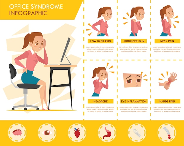 Girl office syndrome infographic Premium Vector